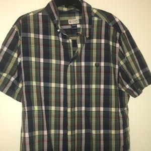 Men's short sleeve plaid shirt chaps XL